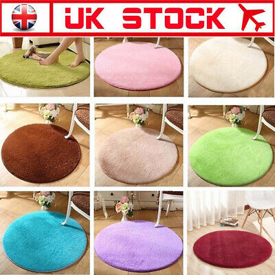 Super Soft Fluffy Rugs Anti-Skid Shaggy Area Carpet Round Flooring Mat UK Seller