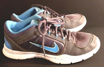 f871d422b50fe NIKE FLEX TRAINER 4 643083-005 - Gray with Blue Swoosh Athletic Shoes Women