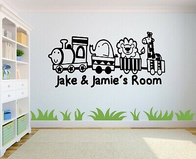Personalised Kids Animals And Train Wall Art Sticker, Boys/Girls Home Decor