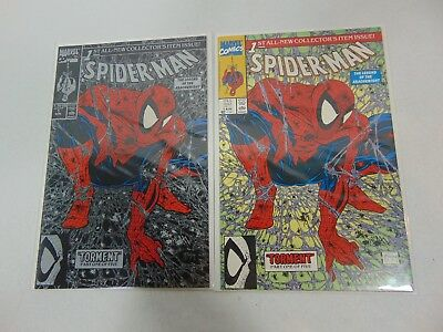 1990 MARVEL SPIDER-MAN #1 TORMENT McFARLANE GREEN & Silver Covers! Lot of 2