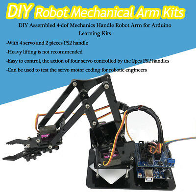 DIY Assembly 4-Dof Robot Arm PS2 Handle & Circuit Kits for Arduino