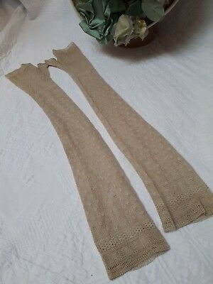 Antique Gloves Victorian Edwardian Fingerless Long Silk Lacey Knit