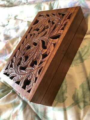 Old Vintage Beautifully Carved Wooden Trinket Jewellery Box Decorative