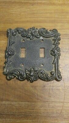Vintage American Tack & Hardware Brass  Lightswitch double Cover 1967