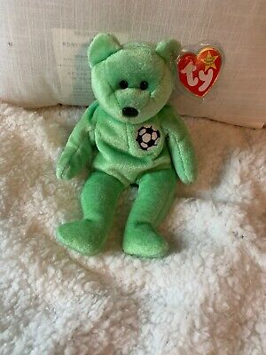 """dfcf2a362c2 TY Beanie Baby Very Rare """"Kicks"""" Bear Collectible With Tag Errors Born 1998"""
