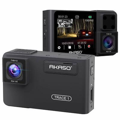 AKASO Trace 1 Dual Dash Cam, 1080P FHD Dashboard Car Recorder with Front and Rea
