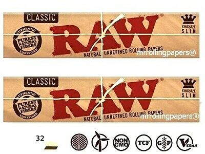 2 PACKS Raw Classic King Size Slim Natural Unrefined Rolling Papers USA SHIPPER