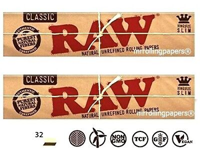 2 PACKS Raw Classic King Size Slim Unrefined Rolling Papers *Discounts* USA SHPD