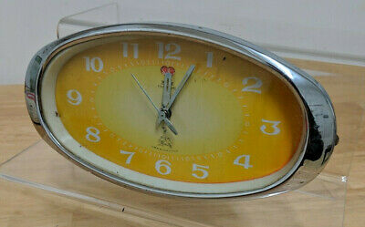 1960's Art Deco 5 Rams Chrome Wind Up Alarm Clock Working
