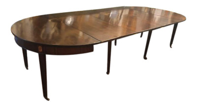 12 Seater Antique Mahogany English Dining Table with Pair of Console Table