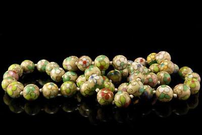 Antique Chinese Green Cloisonne Enamel Flower Beads Necklace  D74-13