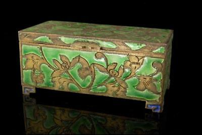 Old Chinese Green Enamel Cloisonne Brass Stamp Box