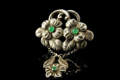 Old Danish Art Crafts Chrysoprase 830 Silver Signed Georg Albert Halling Brooch