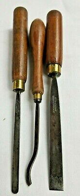 Lot Of 3 Antique Wood Carving Tools * Old Collectors Set. Uk Steel Sheffield