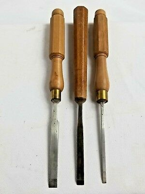 Vintage Lot of 3 LIGHT Firmer Chisels with nicely designed handles.