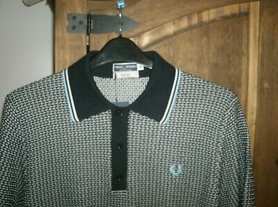 b25846d27 fred perry reissues knitted polo shirt navy blue/white XL 44