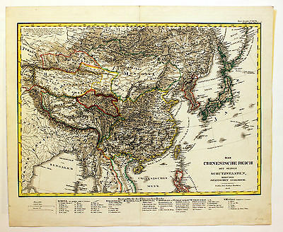 CHINA Japan PERTES 1833 ORIGINAL Karte Landkarte Map Nihon Nippon Asien