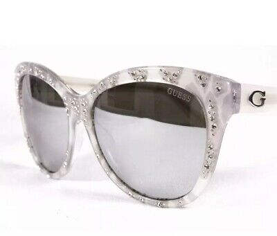 5627bd0ba3f GUESS GU7437 24C Women's Sunglasses 56-18-135 White & Crystals ...