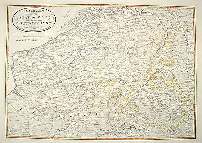 New Map of the Seat of war in the Netherlands Original Antique Map 1794 Holland