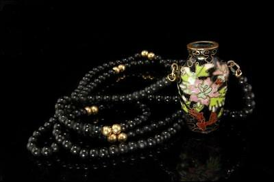Vintage Chinese Black Cloisonne Enamel Miniature Vase  Onyx Beads Necklace
