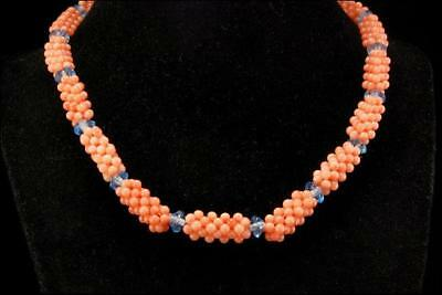 Vintage Chinese Braided Pink Coral Beads Art Glass Necklace Choker D64-11