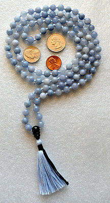 Hand Knotted Aquamarine Buddhist Mala Prayer Bead -Psychism Purification Allergy