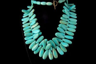 VINTAGE CHINESE HEAVY BLUE TURQUOISE DROP BEADS 173g NECKLACE A803