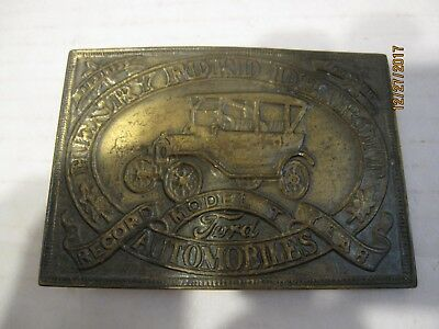 Vintage Henry Ford Detroit Solid Brass Belt Buckle Model T Record Year b27