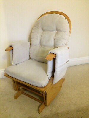 Cream Glider Nursery Rocking Chair and Footstool