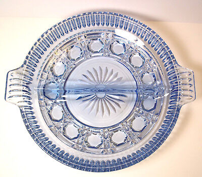Indiana glass Windsor vintage divided relish Ice Blue round 2 part 8.5""