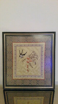 Chinese/Japanese  Rank Badge silk embroidery  design bird and tree. framed