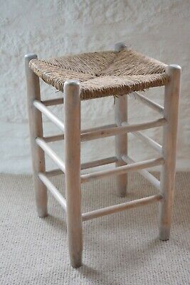 Vintage Pale White Pine Stool With Raffia Seat Top,Whitewashed Scandinavian