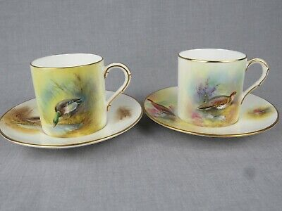 Pair Of Royal Worcester Coffee Cans And Saucers - Painted With Game Birds