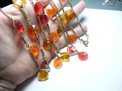 Pink Orange Yellow Faceted Disc Gold Tone Metal Necklace 52 Inches Vintage