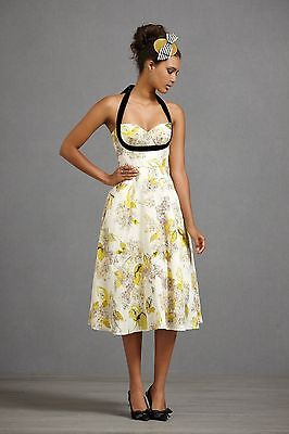 b3370df8555d HITHERTO Anthropologie White Yellow 40's Dress rockabilly 6 tulle slip .
