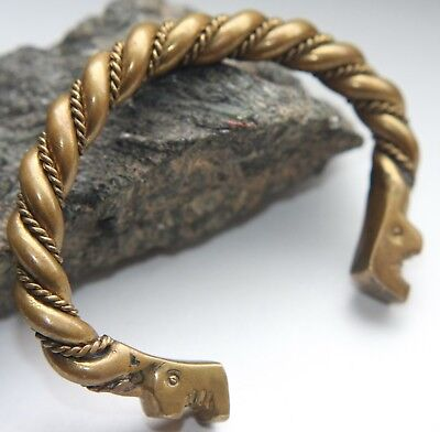 Vintage Bronze Twisted Zoomorphic Dragonhead Bracelet Reproduction