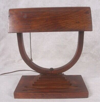Vintage Arts & Crafts Mission Wooden Banker's Table Lamp Craftsman Style