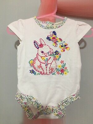 Cute Baby Girls Monsoon Floral Frill Trim Bunny Bodysuit Top 0-3m🎀