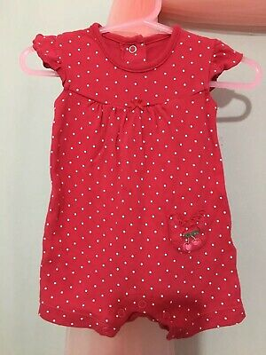 Cute Baby Girls Red Spotted Print Cherry Motif Summer Romper Suit 0-3m🍒🍒