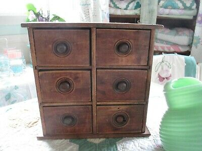 Antique Spice Box Cabinet Wooden Primitive Chest 6 Drawers Apothecary