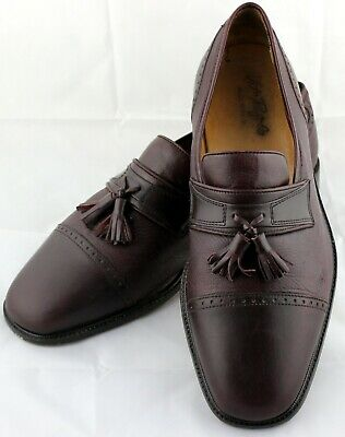 Vito Rufolo Mens Burgundy Leather Tassel Loafers Slip On Shoes Size 11 W Italy