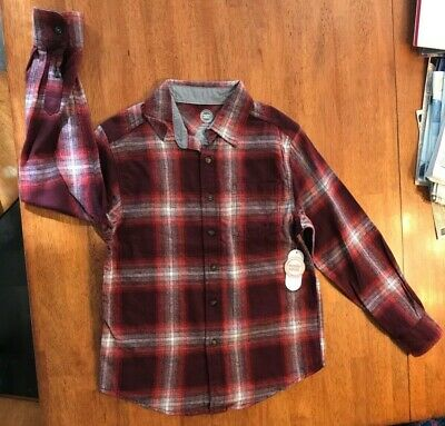 e61aef5ee NWT Boys Flannel Shirt Red Long Sleeve By Wonder Nation Size Large 10/12