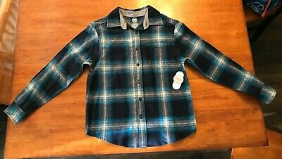 63c71aef0 NWT Boys Blue Long Sleeve Flannel Shirt By Wonder Nation Size Large 10/12