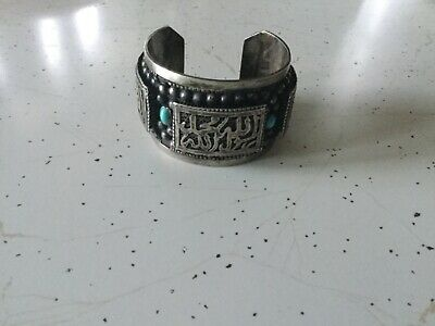Antique Egyptian Bracelet Cuff Silver with Turquoise Stones Arabic Islam