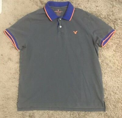 1bf8d4ea4 American Eagle Outfitters Mens Polo Shirt Classic Fit Grey Blue Orange S S  XL