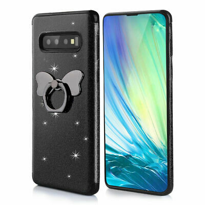 For Samsung Galaxy S10 Plus S10 Lite Glitter Clear Back Leather Soft Flip Case