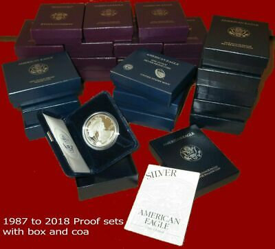 1986 - 2018 AMERICAN EAGLE PROOF SILVER DOLLAR, set in mint boxes and coa
