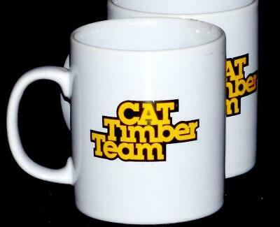 2 Coffee Mugs Caterpillar 1980s CAT Timber Team Tractor Co. Coloroll England New