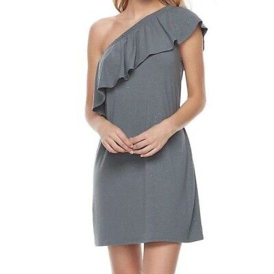 c2e2c5956146 NWT JUICY COUTURE Gray Silver sparkly glitter One shoulder ruffle women s  Dress