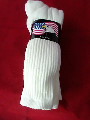 3 Pair of Hi Bulk Acrylic/Polyester Crew Socks Arch Support 8-12 Made USA White
